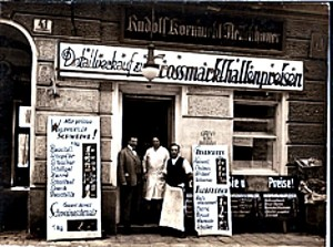 Rudolph and Molly Kornmehl in front of their main butcher shop