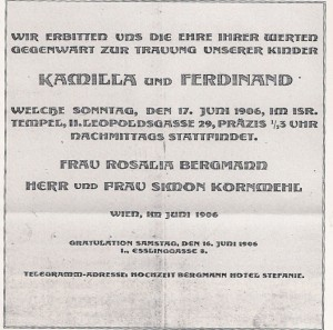 Wedding Announcement for Ferdinand & Kamilla Kornmehl, 1906