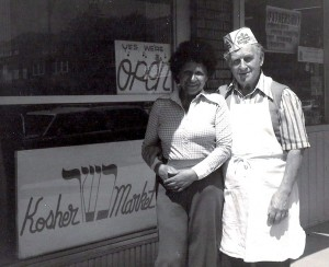 Nathan and Frances Kornmehl in front of their Buffalo, New York, kosher butcher shop