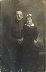 My grandfather, Sergeant Hermann Rosenbaum, with my mother, 1916 or 17