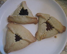 Poppy seed, prune and apricot hamentaschen, via Wikimedia Commons