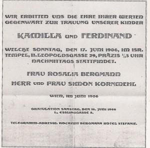 Wedding Announcement for Ferdinand & Kamilla Kornmehl, 1906