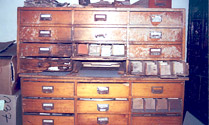 One of several name card cabinets found in 2000 —United States Holocaust Memorial Museum